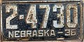Nebraska license plate 1936 from the private collection of Jim Smith.jpg