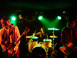 Nebula performing live in 2008. Left to right: Eddie Glass, Rob Oswald, Tom Davies.