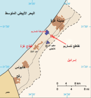 A map showing part of Israel, and to the west, the Gaza Strip and the Mediterranean Sea. To the south, part of Egypt is shown.