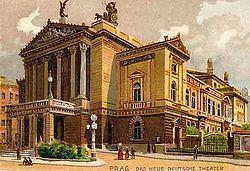 Budova Nového německého divadla na pohlednici z doby kolem roku 1900