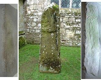 Nevern - (left) the Maglocunus Stone, (centre) the Vitalianus Stone, (right) the braided cross