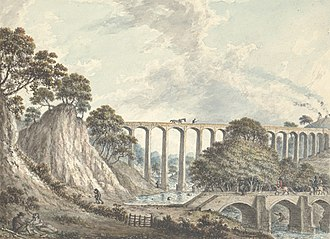 Ruabon - Pontcysyllte bridge and aqueduct near Rhiwabon, early 19th century