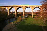 A large bridge crossing a river, and the rivers floodplain beside it. The bridge has 7 visible arches, and is taller than the mature deciduous trees surrounding it.