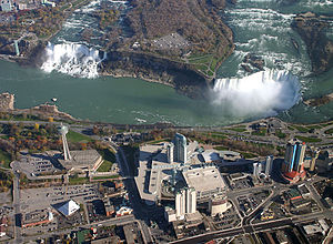 George Westinghouse - Aerial view of Niagara Falls, with the American Falls at left and the Canadian Horseshoe Falls on the right