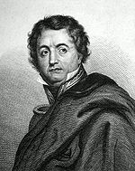 Black and white print shows a wavy-haired man looking to his left. He wears a cloak over his shoulders so that only the collar and one epaulette of his military uniform are visible.