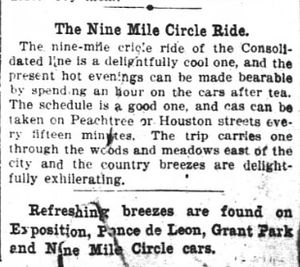 Nine-Mile Circle - 1896 Atlanta Constitution advertorial promoting the Nine Mile Circle