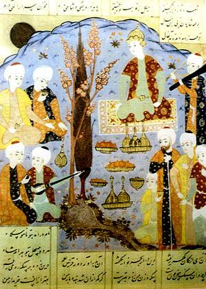 Nizami Ganjavi - Nizami Ganjavi at shah's reception. Miniature. 1570. Museum of History of Azerbaijan