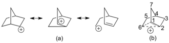 2-Norbornyl cation - Figure 2: (a) Explicit resonance structures for the non-classical 2-norbornyl cation. (b) Common depiction of the 2-norbornyl cation, using dashed lines for partial bonds.