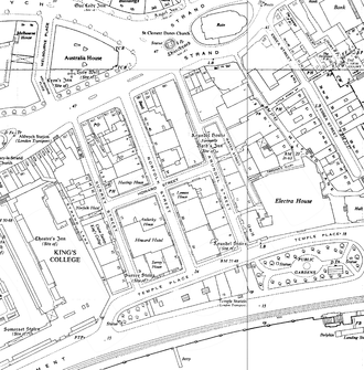 Arundel Street - The vicinity of Arundel Street (centre) on a 1950s Ordnance Survey map.