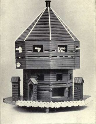 Norman Cross - Model of the Block House made by a French prisoner in 1801. Photographed in 1913.