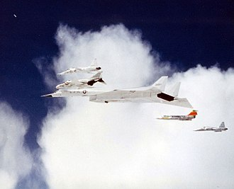 McDonnell Douglas F-4 Phantom II - A production F-4 taking part in a photoshoot with a F-5 Freedom Fighter, T-38 Talon, F-104 Starfighter and the second XB-70 Valkyrie prototype, 8 June 1966. Shortly after this photograph was taken, the F-104 and XB-70 collided, killing the pilot of the F-104 and the co-pilot of the XB-70.