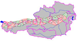 Northern Limestone Alps - Groups of the Northern Limestone Alps (purple lines showing international borders and the borders of Austrian states)