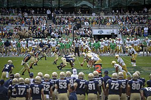 2012 Notre Dame Fighting Irish football team - Notre Dame and Navy line up on scrimmage