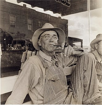 "Dust Bowl - ""Dust bowl farmers of west Texas in town,"" photograph by Dorothea Lange, June 1937."