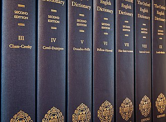 Oxford English Dictionary - Seven of the twenty volumes of printed second edition of the Oxford English Dictionary (1989).