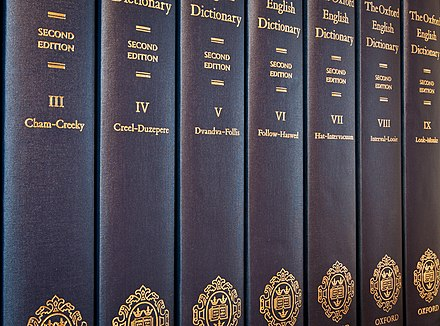 Seven of the twenty volumes of the Oxford English Dictionary (second edition, 1989). OED2 volumes.jpg