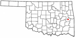Location of Stigler, Oklahoma