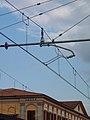 Oberleitung der italienischen Bahn am Bahnhof Lucca.jpg