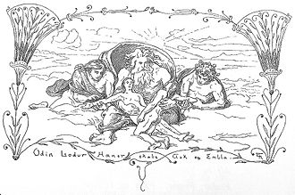 "Ask and Embla - ""Hœnir, Lóðurr and Odin create Askr and Embla"" (1895) by Lorenz Frølich."