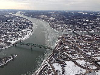 Muskingum River - Aerial View of the Ohio and Muskingum Rivers at Marietta, Ohio.