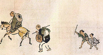 Sora's Diary - Basho on the horseback, followed by Sora in Okuno Hosomichi Emaki, of Yosa Buson
