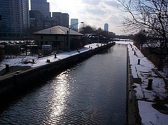 Museum of Science (Boston) - Original Charles River lock adjacent to the museum and positioned just west of the Charles River Dam Bridge