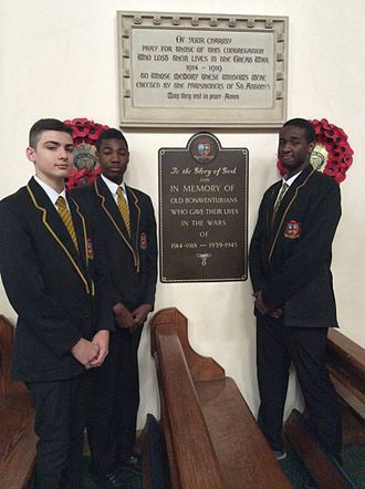 St Bonaventure's - Plaque honouring Old Bonaventurians killed in both world wars, St Antony's Church, Forest Gate.
