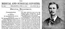 Rechts een jonge man, gekleed in pak en stropdas, met een snor en een plukje haar op de kin;  aan de linkerkant is de bovenste helft van een medisch tijdschrift getiteld 'Medical and Surgical Reporter'