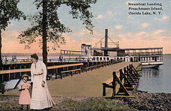Postcard showing Frenchman Island's steamboat landing in 1910.