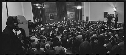 First day of the Judiciary Committee's formal impeachment hearings against President Nixon, May 9, 1974 Opening day of the Nixon impeachment inquiry.jpg