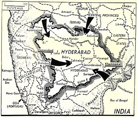 Indian Army movements during the Operation Polo Operation Polo 1948.jpg