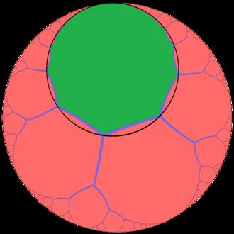 Order-3 apeirogonal tiling - Image: Order 3 apeirogonal tiling one cell horocycle