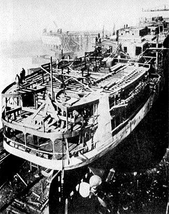 USS Orizaba - Orizaba under construction at William Cramp & Sons in Philadelphia, c. 1917