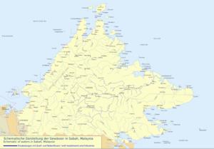 Kinabatangan River - Image: Orographie Sabah Kinabatangan