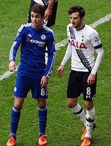 d46aaa4c7c6 Oscar with opposite number Ryan Mason in the London derby between Chelsea  and Tottenham Hotspur.
