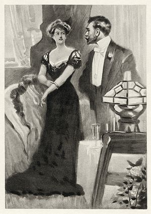 An Ideal Husband - Lord Goring confronts Mrs. Cheveley about a stolen bracelet. From a 1901 collected edition of Wilde's work
