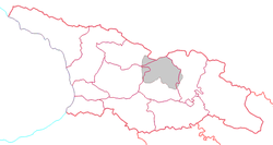 Location of South Ossetia (grey) and the rest of Georgia.