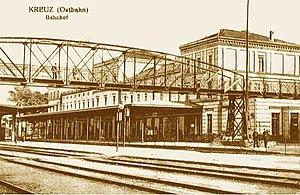 Krzyż Wielkopolski - Rail station in Krzyz, circa 1900