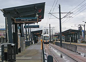Othello station - A southbound Link train at Othello station