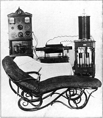 Oudin coil - Oudin electrotherapy outfit.  Includes the Oudin coil (right rear), induction coil which powers it (center rear), power panel with mercury interrupter (left rear), and condensing bed (foreground)