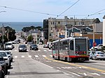 Outbound train at Taraval and 28th Avenue, May 2018.JPG