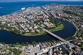 View of downtown Trondheim and Nidelva River
