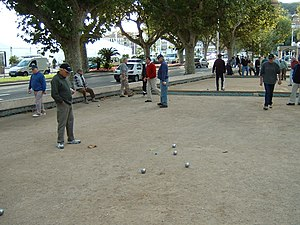 Pétanque players in Cannes