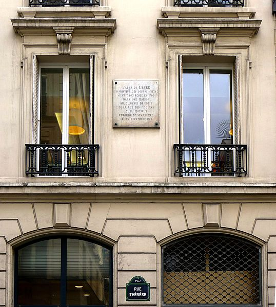 File:P1050066 Paris Ier rue Thérèse n°23 plaque abbée de l'Epée rwk.JPG
