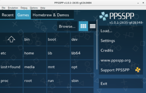 PPSSPP v1.0.1-2635 running on Fedora 22