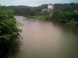 View of Pamba river from Vadasserikkara new bridge