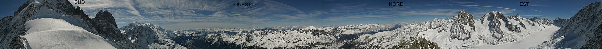 mountains of the Mont Blanc massif seen from the north-east