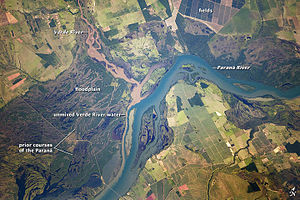 Floodplain - Paraná River floodplain, at its confluence with the headstream of the Paranaíba on the right and the Verde River, near Panorama, Brazil