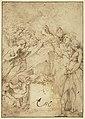 Parmigianino - La Vierge en trône, quatre saints, une sainte et des anges, INV 6401, Recto.jpg