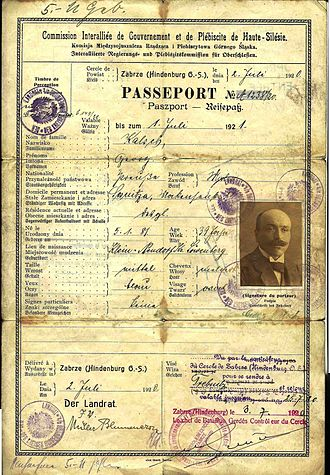 Upper Silesia plebiscite - 1920 special passport issued to those living in the region during the Upper Silesian plebiscite.